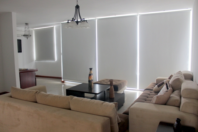 Living Room With Black Out Blinds